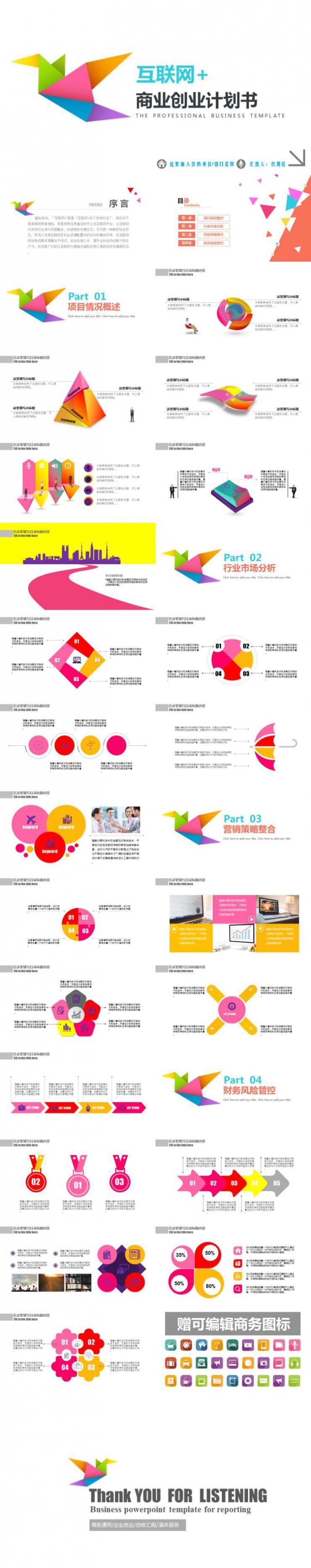 互联网商业创业计划书PPT模板