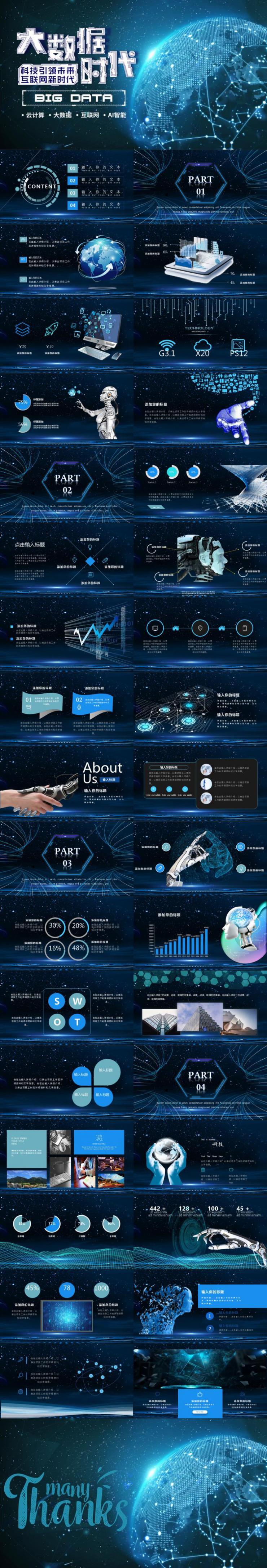 人工智能科技感未来云计算大数据分析AI通用PPT模板