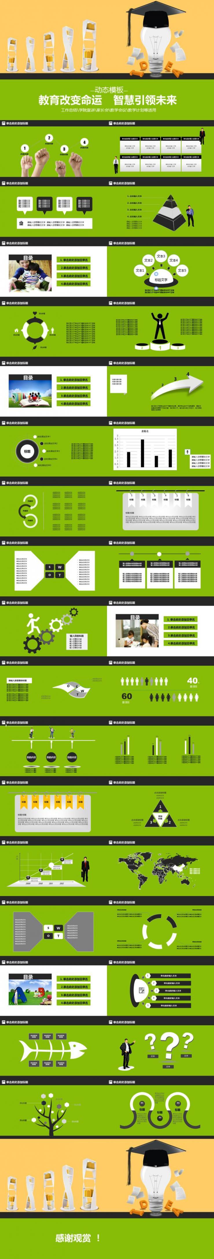 教育改变命运智慧引领未来教学PPT模板