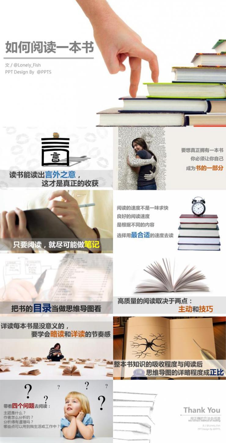 如何阅读一本书简约静态PPT模板