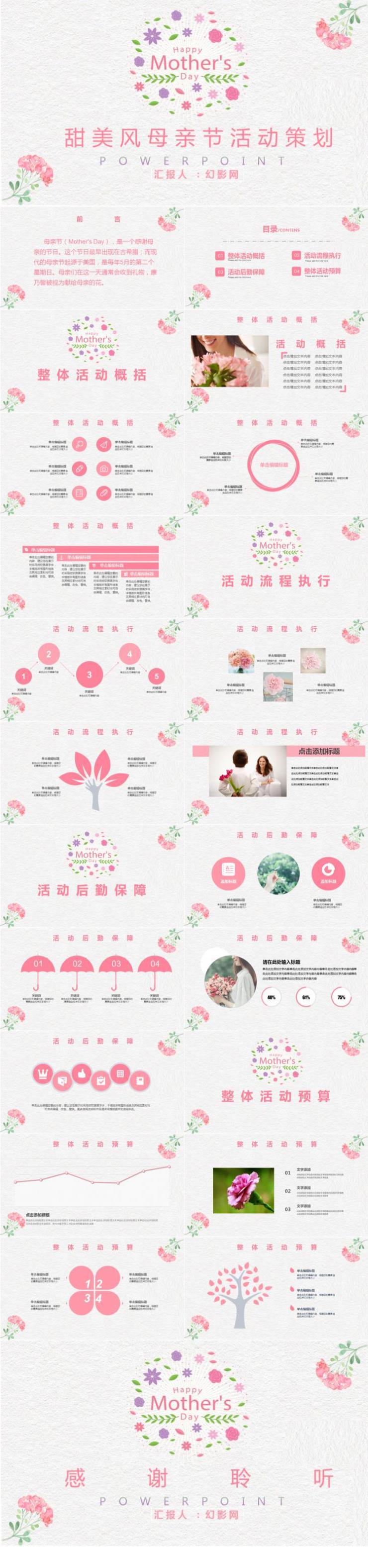 甜美风母亲节活动策划PPT模板