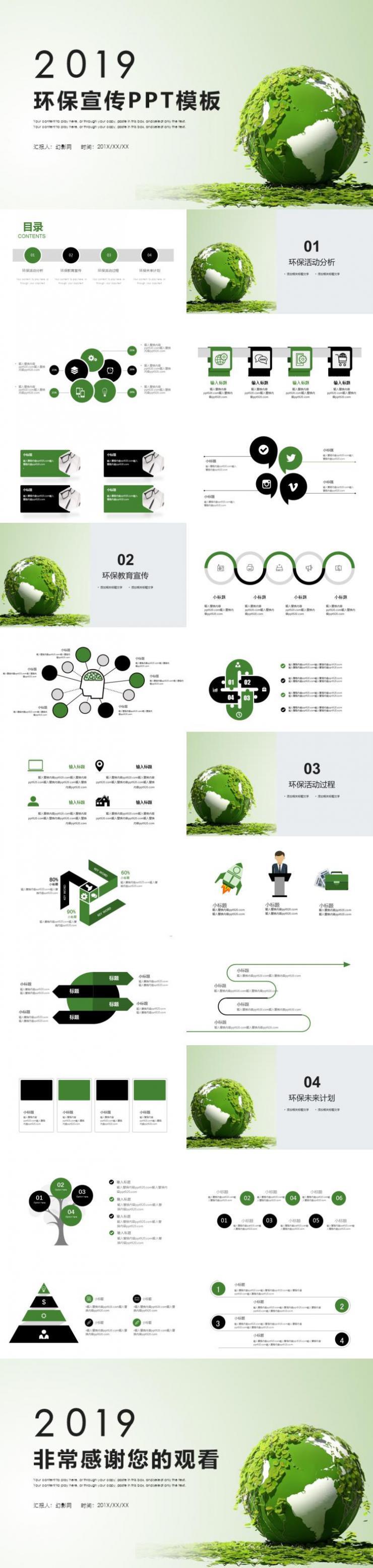 绿色环保宣传工作汇报PPT模板