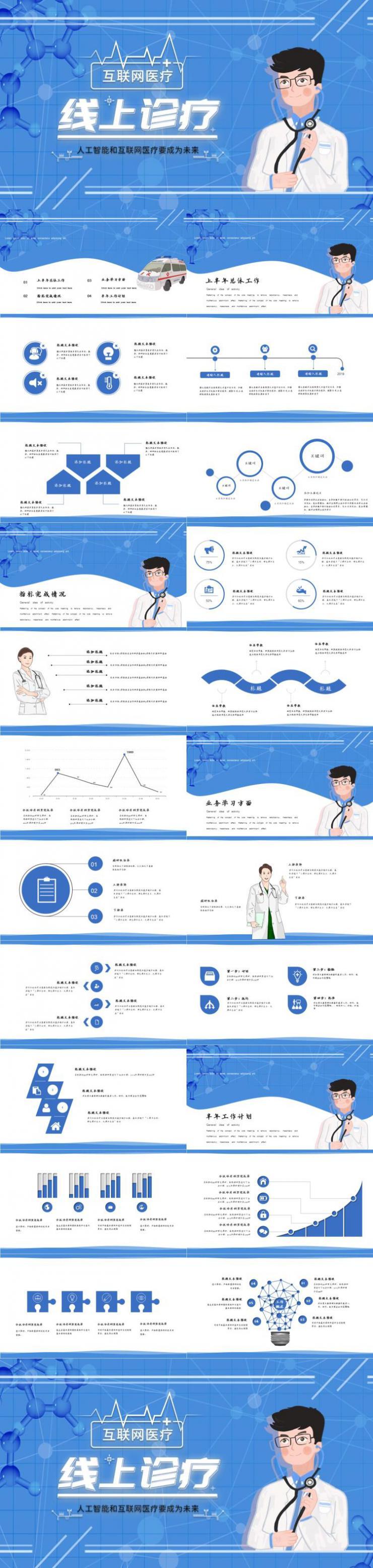 内容型医疗医药年中总结PPT模板