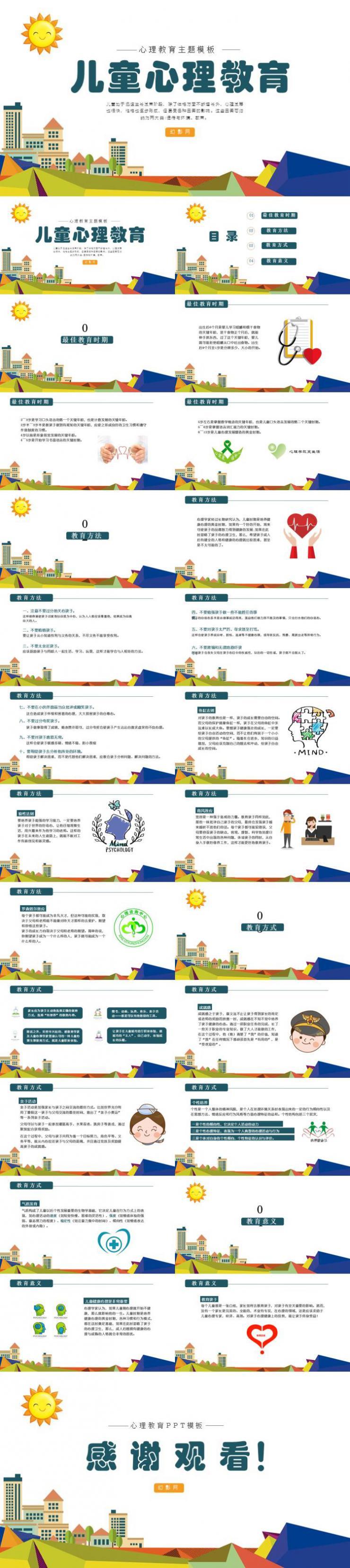 儿童心理教育PPT模板下载
