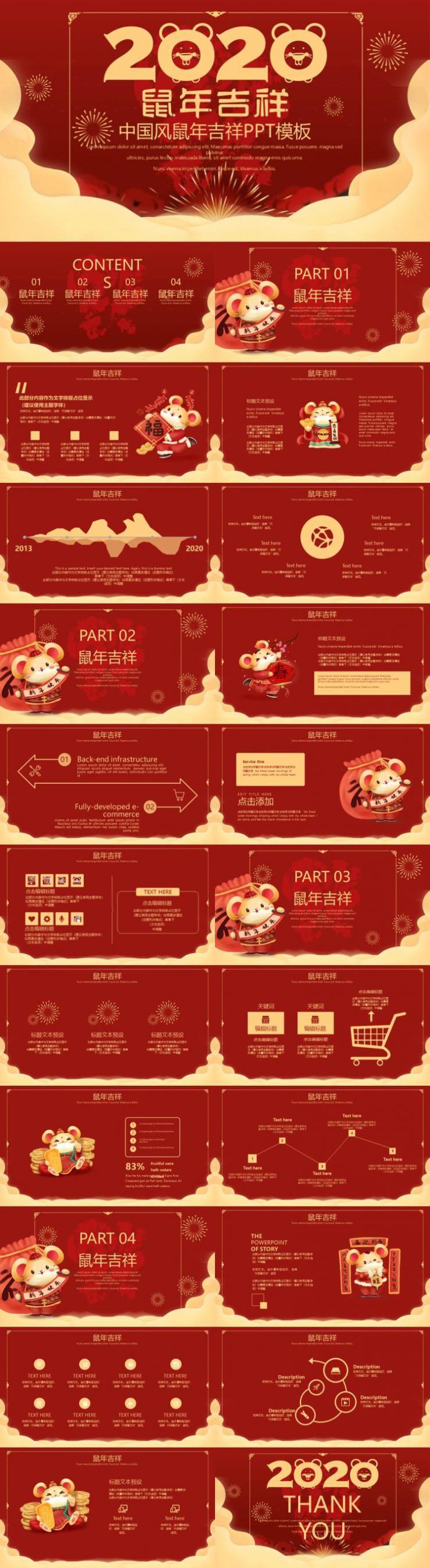 2020中国风鼠年吉祥年快乐PPT模板