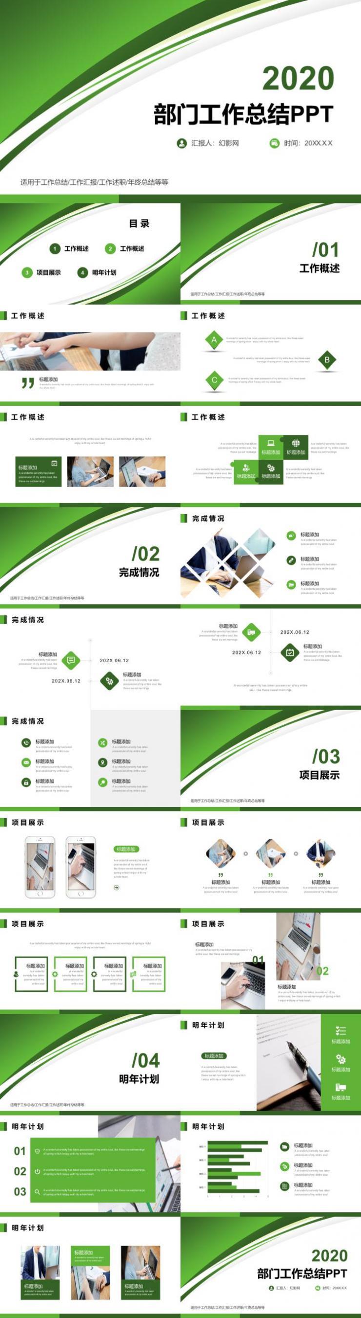 绿色简约部门工作总结PPT模板