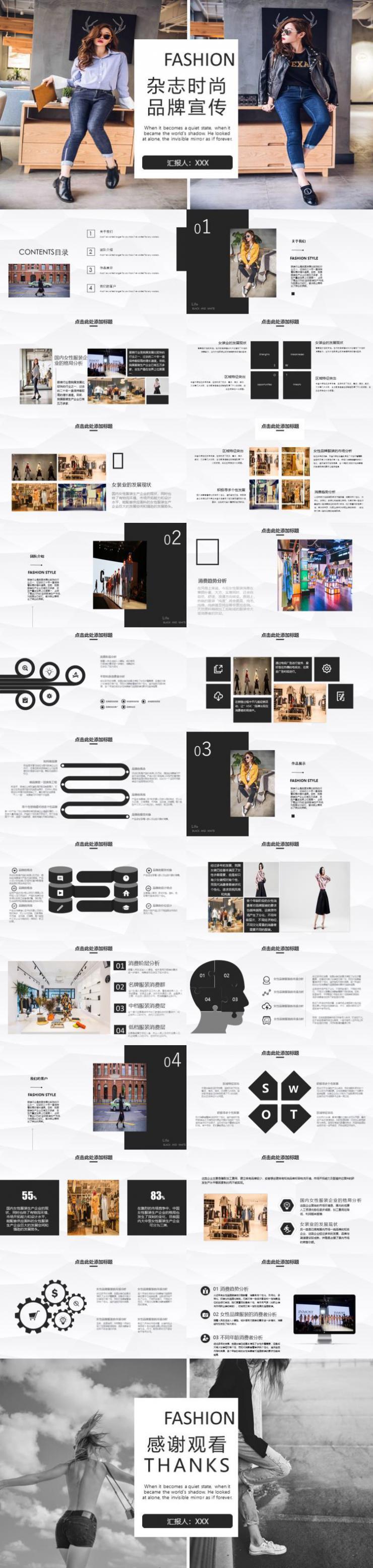杂志时尚品牌宣传PPT模板下载