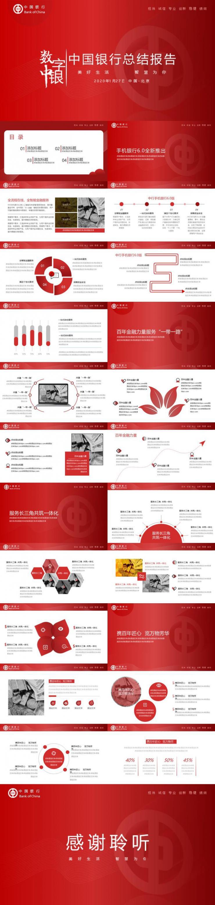 中国银行工作汇报ppt模板下载