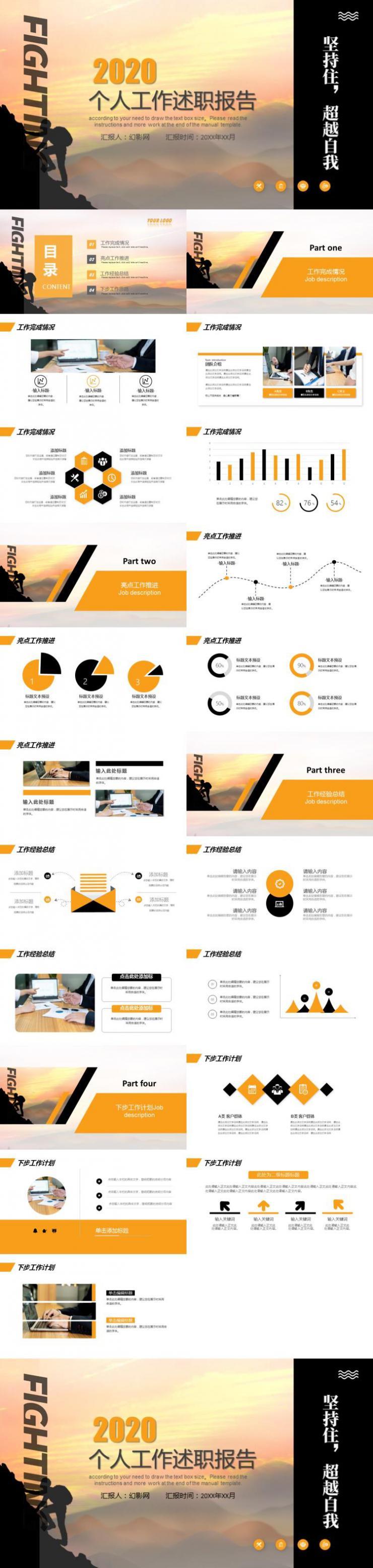 橙色个人工作述职报告PPT模板