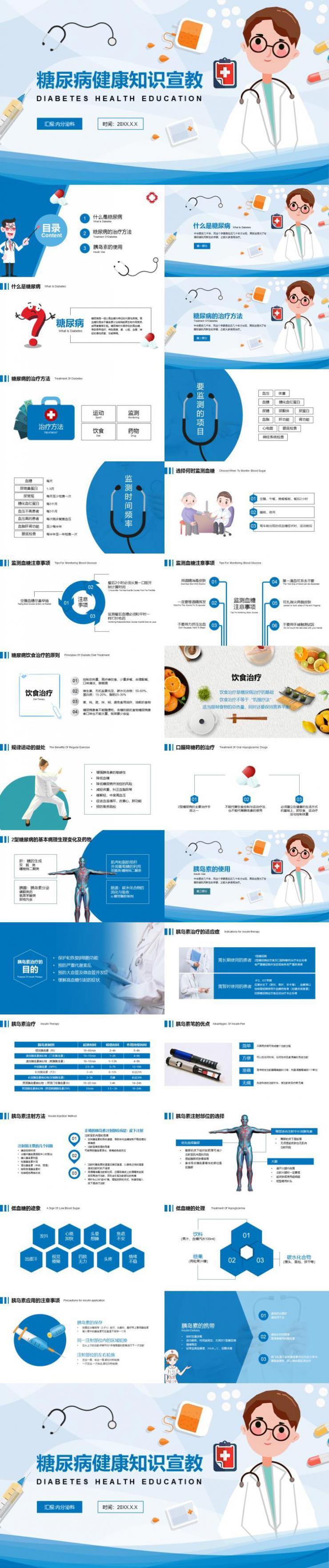 卡通糖尿病健康知识宣教医疗医学PPT模板