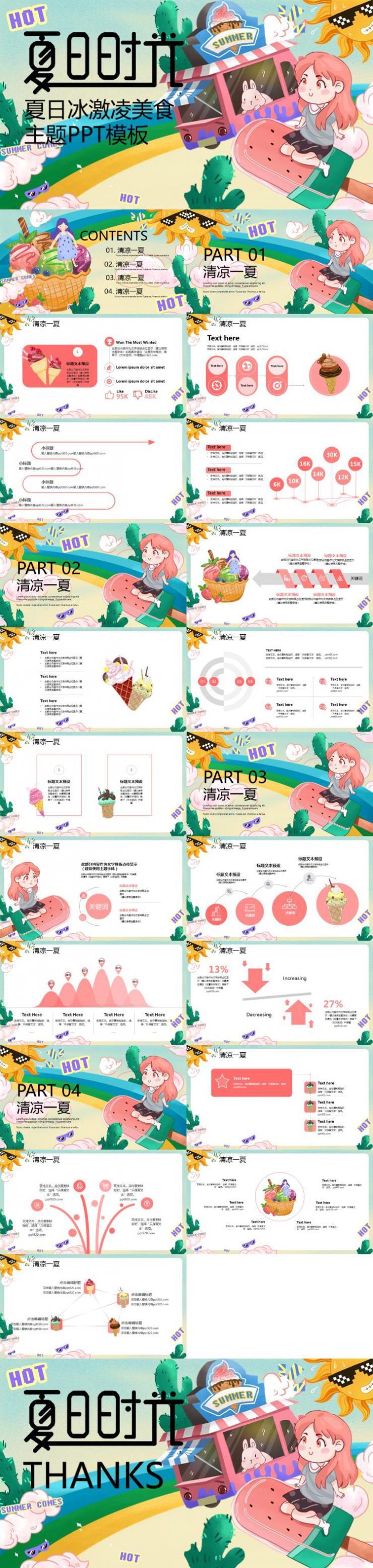 粉色可爱卡通夏日冰激凌美食主题PPT模板