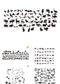 动物剪影幻灯片小图片素材