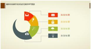 12页简约彩色扁平化商务PPT图表